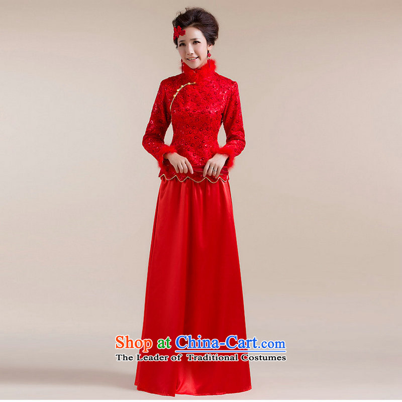 Yet the new 8D Color optimization for Gross Gross cuff dot decorated under the aliasing dragging long skirt Tang Gown wedding dress XS7098 RED?XXL