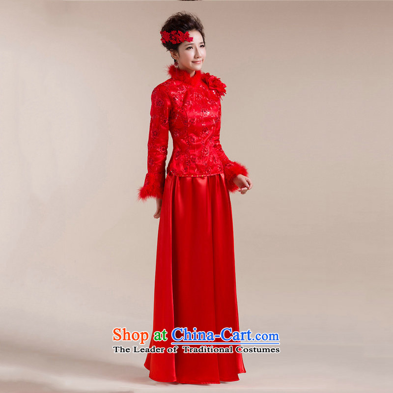 Yet the new 8D Color optimization for Gross Gross cuff shoulder the floral decorations long skirt dragging Tang Gown wedding dress XS7094 RED?M