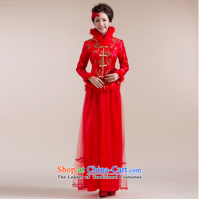 There is also a grand new optimized fluff high collar Chinese coin more thin layer of Tang Dynasty dress wedding dress XS7093 RED L