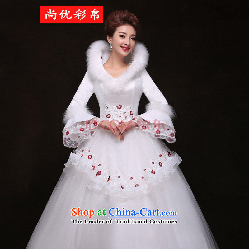 There is also a grand new optimize wedding to align the long-sleeved winter winter) Marriages video thin princess bon bon skirt wedding yf9626 RED M