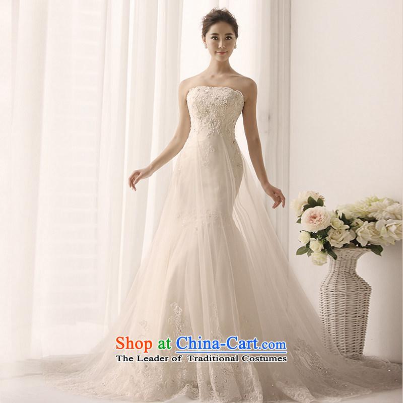 2015 new MTF Princess Mary Magdalene Chest straps wedding satin lace long tail crowsfoot diamond retro Korean s1389 wedding tail 173-L 100cm
