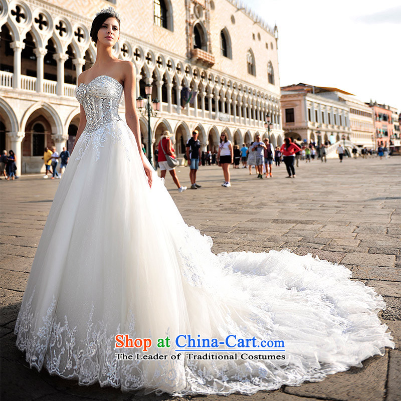 Full Chamber Fang 2015 new Korean sexy anointed chest plain manual water drilling wedding dresses S21446 80 cm tail tailored
