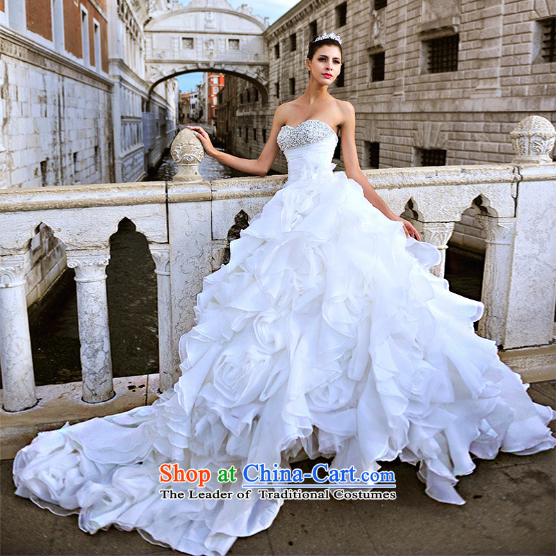 2015 Full Chamber Fong new concept real Venice MTF anointed chest winter bride dream anointed chest tail wedding S21450 tail?165-L 80 cm