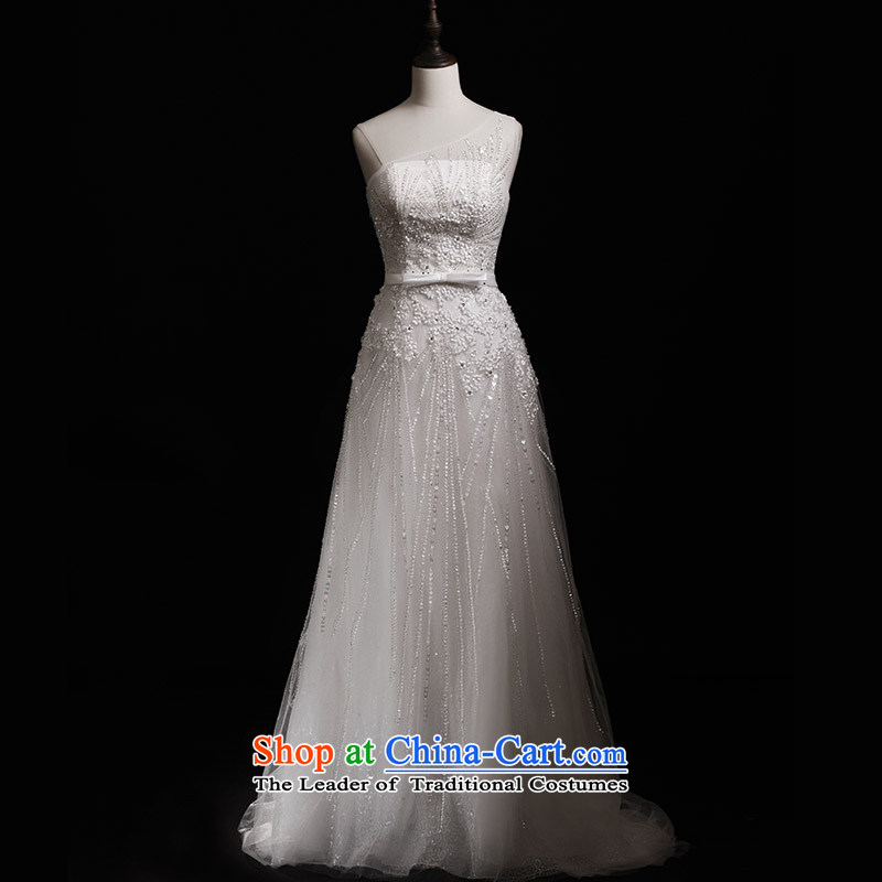 Full Chamber Fang 2015 new wedding dresses s21428 shoulder a swing diamond lace tail bride wedding tail tailored 30cm