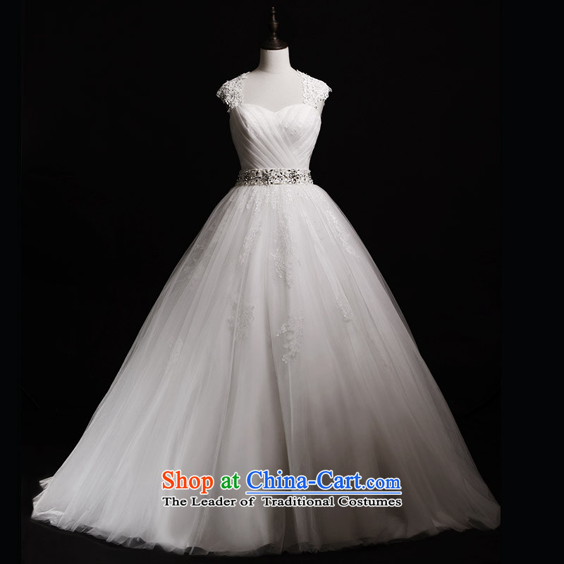 Full Chamber Fang 2015 new bride wedding dresses S40201 shoulder strap and chest bon bon trailing white wedding winter tailored to align