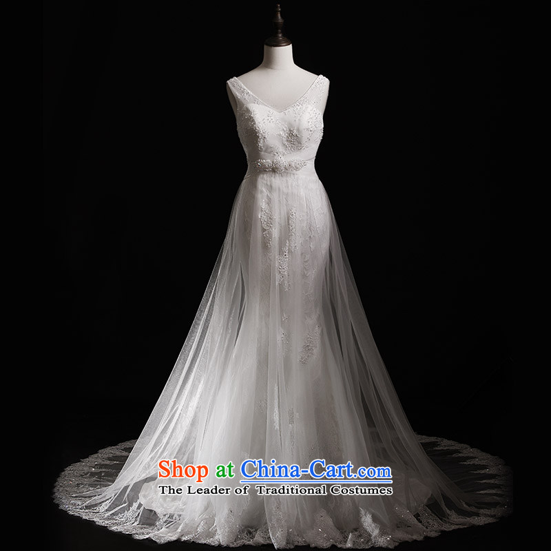 Full Chamber Fang 2015 new shoulder strap with lace white brides chest wedding S21430 crowsfoot tail wedding dresses tail 173-M 100cm
