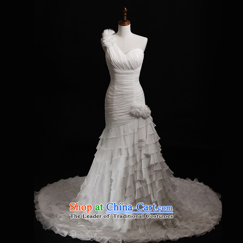 Full Chamber Fang 2015 new bride wedding dress shoulder crowsfoot tail lace white s860 custom omelet tail 165-M 80 cm
