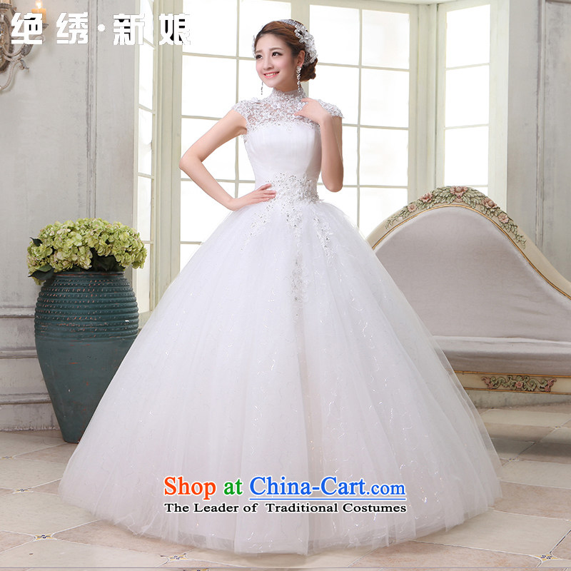 Embroidered is the new 2015 bride first field dual shoulder bride bon bon skirt Korea also mounted video to align the thin lace wedding White?XL Code Suzhou Shipment
