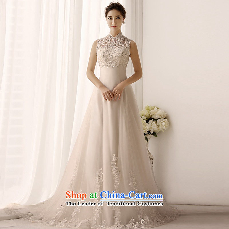 Full Chamber Fang 2015 new retro package shoulder wedding dresses S1399 wiping the chest A swing lace tail bride wedding ivory tail 173-S 50cm