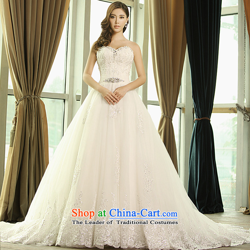 Full Chamber Fang 2015 new wedding dresses S1342 anointed chest lace V-Neck long tail winter bride wedding tail tailored 100cm