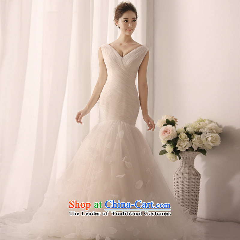 Full Chamber Fang 2015 new crowsfoot bon bon wedding dress shoulder straps, wedding sexy V-Neck S1390 tail tailored 50cm