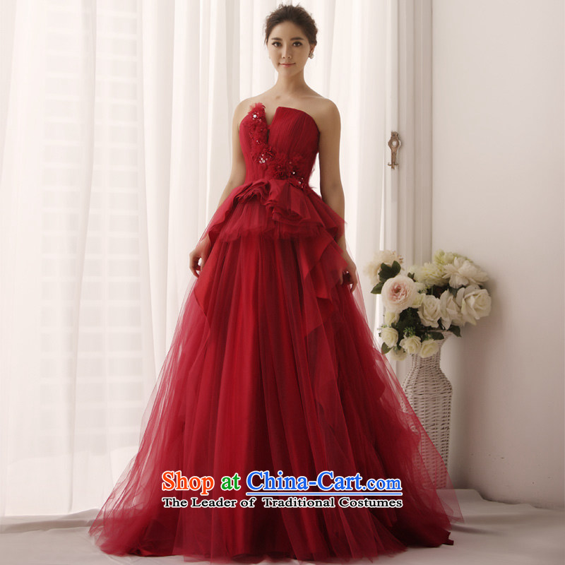 2015 New Red wedding anointed chest tolerance chest bon bon bride wedding tail wedding S1345�165-XL wine red