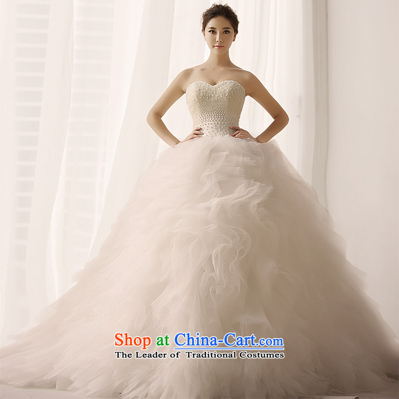 Full name of the Tribunal yuan small Heung-bride wedding dresses and chest bon bon long tail to Chun, wedding S1398 tail 165-L 80 cm