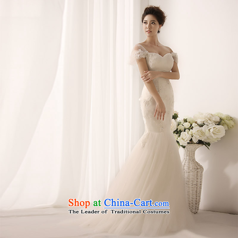 Full Chamber Fang 2015 new wedding dresses irrepressible word shoulder and sexy V tie tail crowsfoot wedding s1396 tail 173-XL 30cm