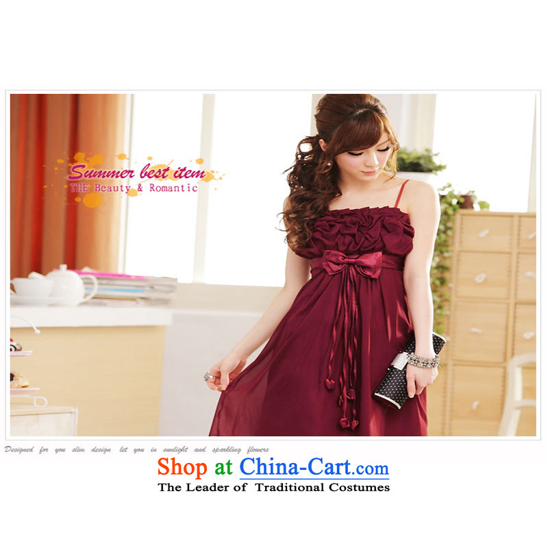 The end of the light _MO_ summer QIAN tenderness beauty chiffon strap dresses aubergine聽L