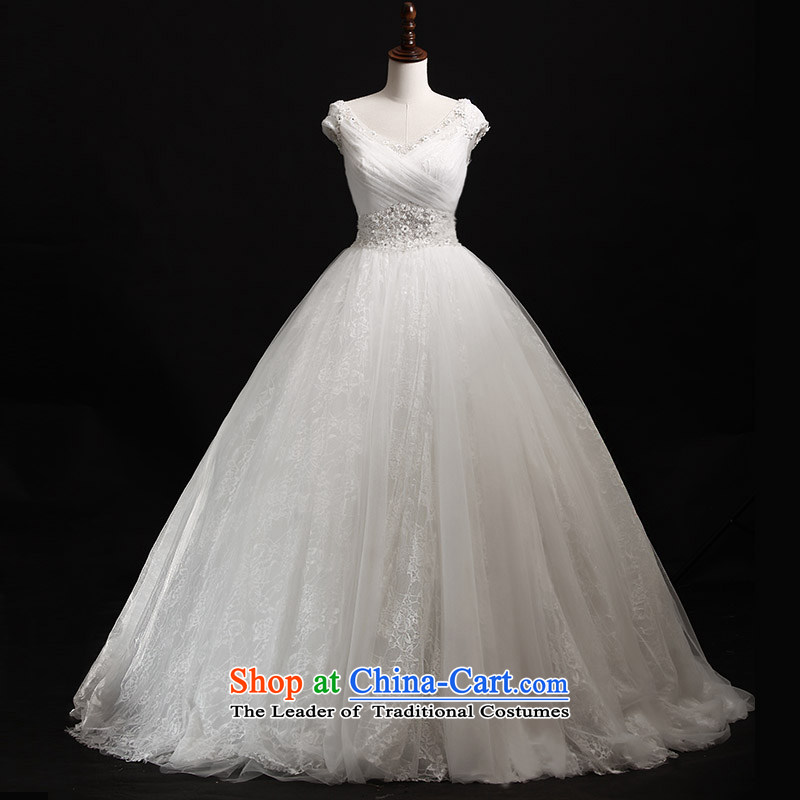 Full Chamber Fang 2015 new wedding dresses s21440 white shoulder strap diamond bon bon tail V-Neck bride wedding tail 173-M 50cm