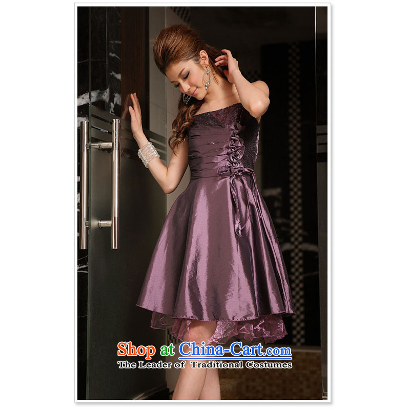 At the end of the spring and summer beautiful light of manual flower dress dresses purple?XL