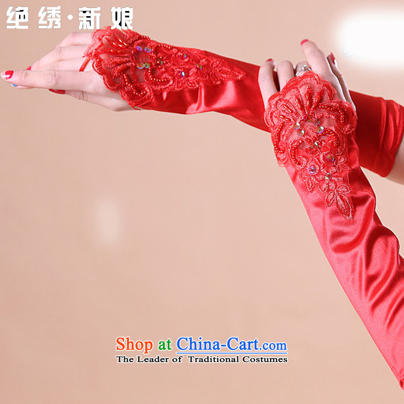 The Bride Lace Embroidery is married terrace refers to the Pearl River Delta wedding gloves red