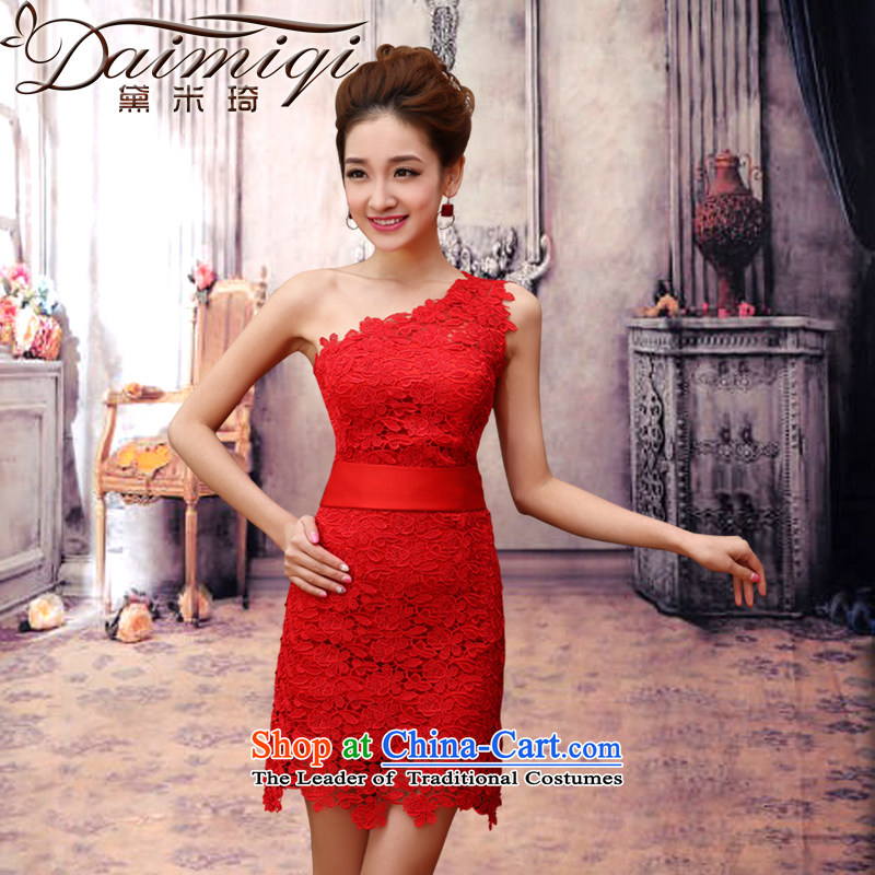 Doi m qi wedding dress shoulder red upscale lace sexy bridal dresses betrothal marriage small waist stylish short dress red Sau San XL