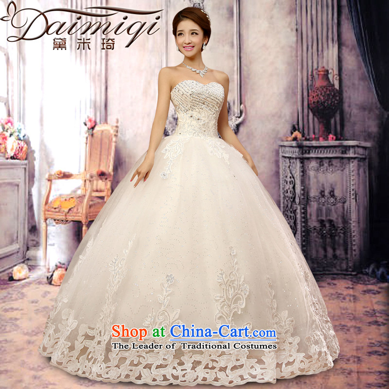 Doi m qi wedding dresses 2014 new luxury on chip water drilling Korean Princess Mary Magdalene Chest straps wedding winter Korean Bridal Suite white聽L