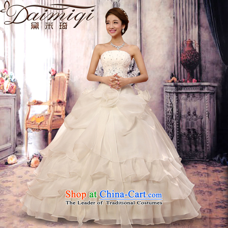 Doi m Qi Wedding 2014 new sweet retro straps and chest wedding dresses to align the Korean version of the Princess Bride wedding OSCE root yarn billowy flounces multi-storey white XL