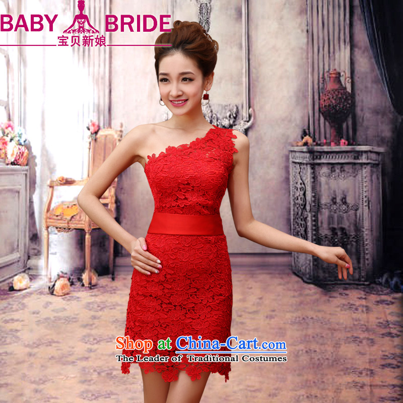 2014 new bride treasure spring bride dress bows service wedding dress red short stylish qipao upscale lace shoulder dress RED M