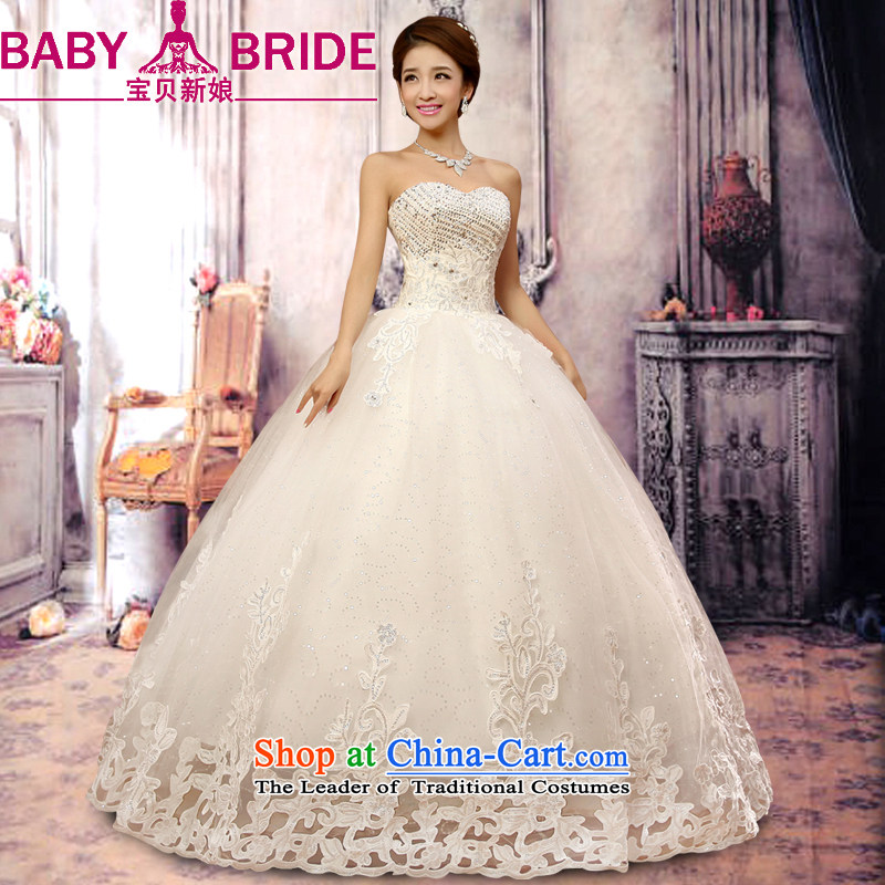 Baby bride wedding dresses 2014 new luxury water drilling Korean Princess Mary Magdalene Chest straps wedding winter Korean Bridal Suite white聽L