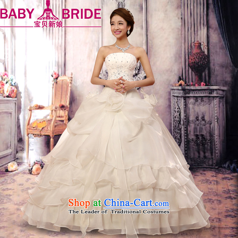 Baby bride Wedding 2014 new sweet retro straps and chest wedding dresses Korean to align the Princess Bride sweet OSCE root multi-tier yarn wedding White?M
