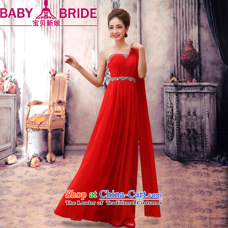 2014 new bride treasure marriage wedding dresses long thin red brides graphics betrothal marriage bows services shoulder graphics thin red dress?XXL