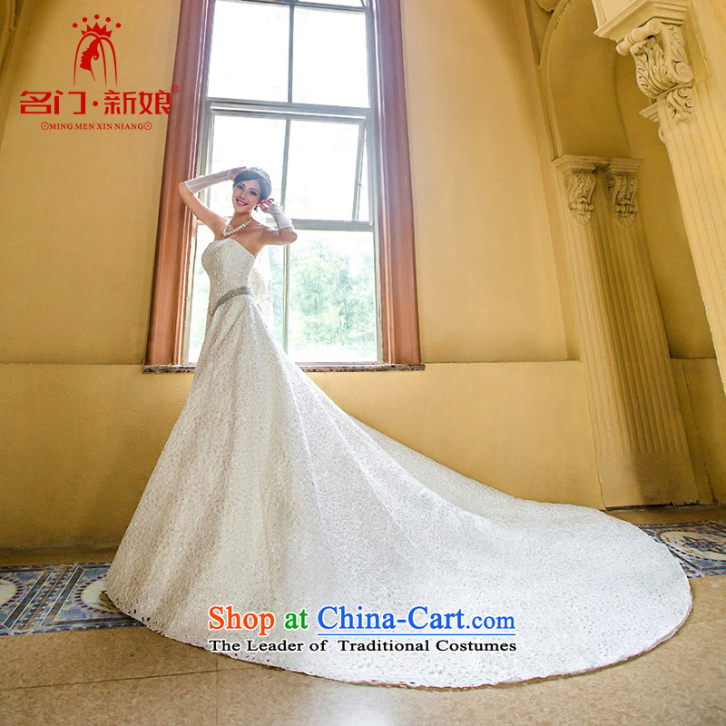 A satin lace deluxe tail new 2015 Korean Princess Mary Magdalene chest wedding dresses A993 whiteL