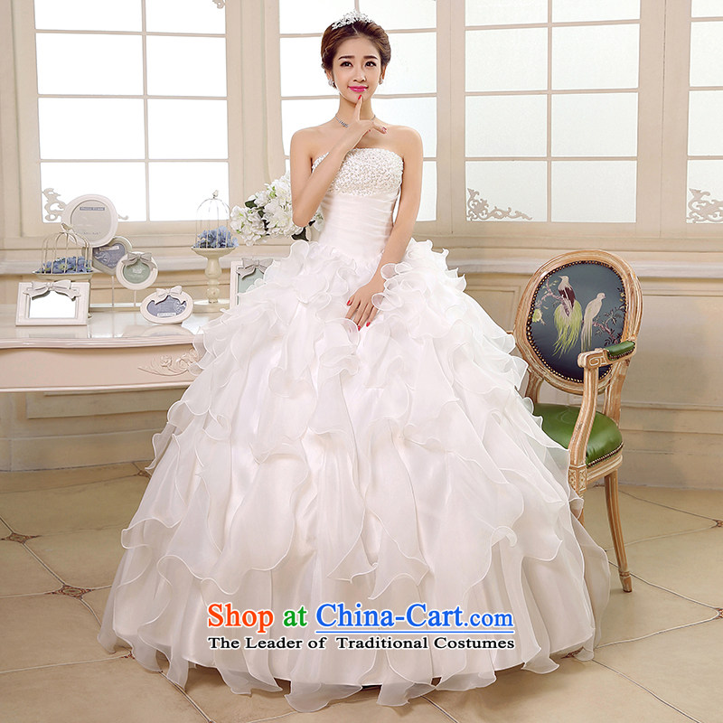 Embroidered bride Korean is wiping the chest wedding white strap to align the princess new bride dress in spring and summer 2015 Sau San video thin, marriage white L Code Suzhou Shipment