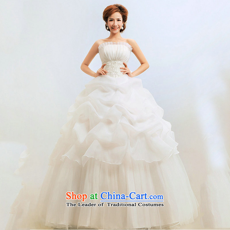 Optimize the new Korean Hong-wiping the chest to Princess graphics thin bon bon wedding dresses XS8055 m White M