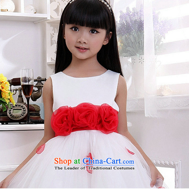 Optimize the performance of the new service-hong princess skirt Flower Girls skirt children wedding dresses XS8045 White 4 code