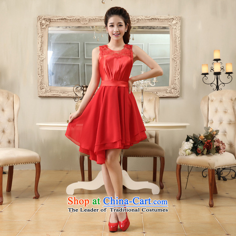 Optimize video shoulders lace red elegant, under the rules of the small dress bride dress YH10011 RED?L