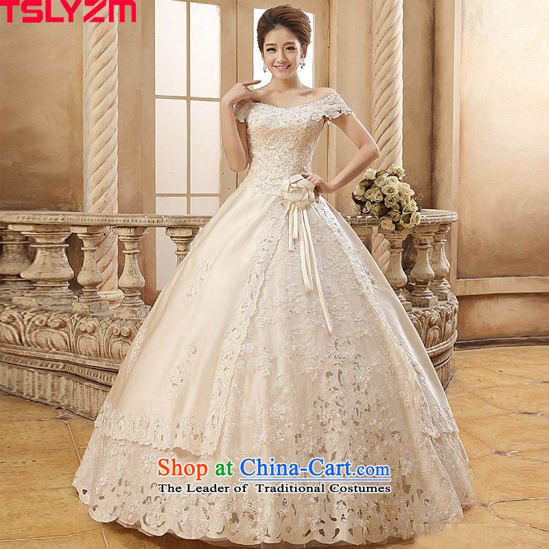 Tslyzm2015 autumn and winter, Satin wedding dress marriages Korean word large pregnant women shoulders V-Neck retro champagne color damask XXL