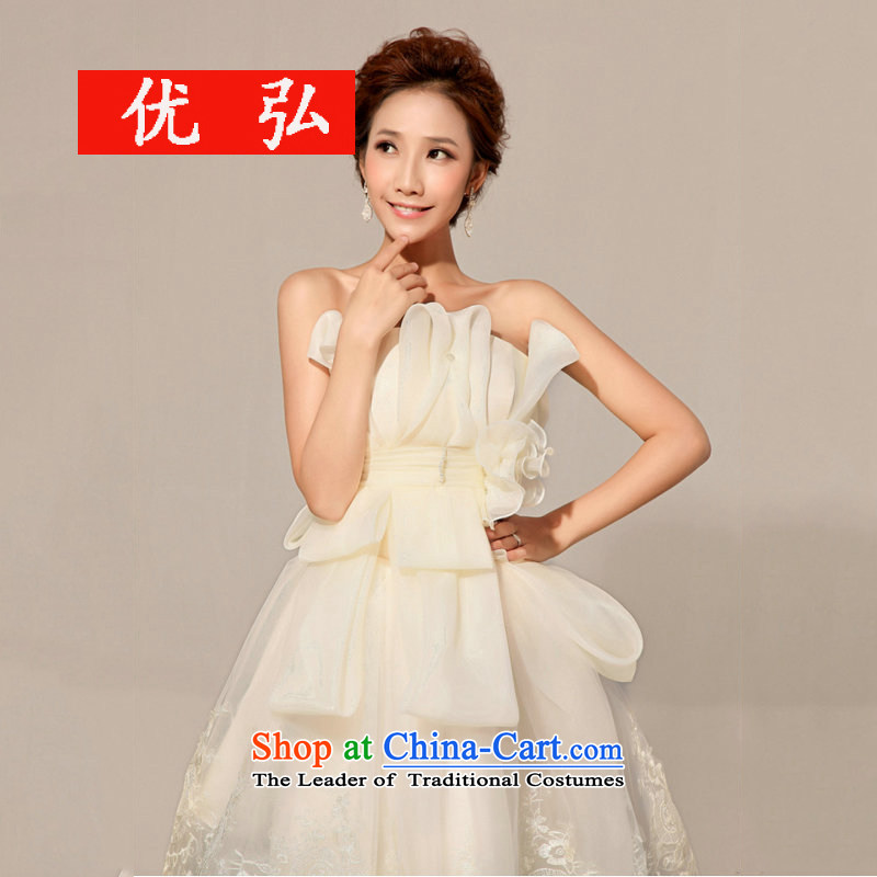 Optimize video new Korean short, wipe the chest bridesmaid dress uniform XS8040 bows champagne color?M