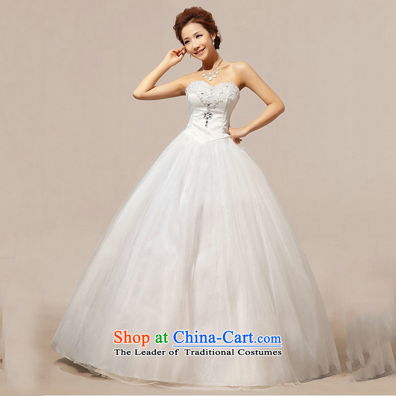 Optimize video new anointed chest Korean lace crystal diamond bon bon wedding dresses XS8060 m White M