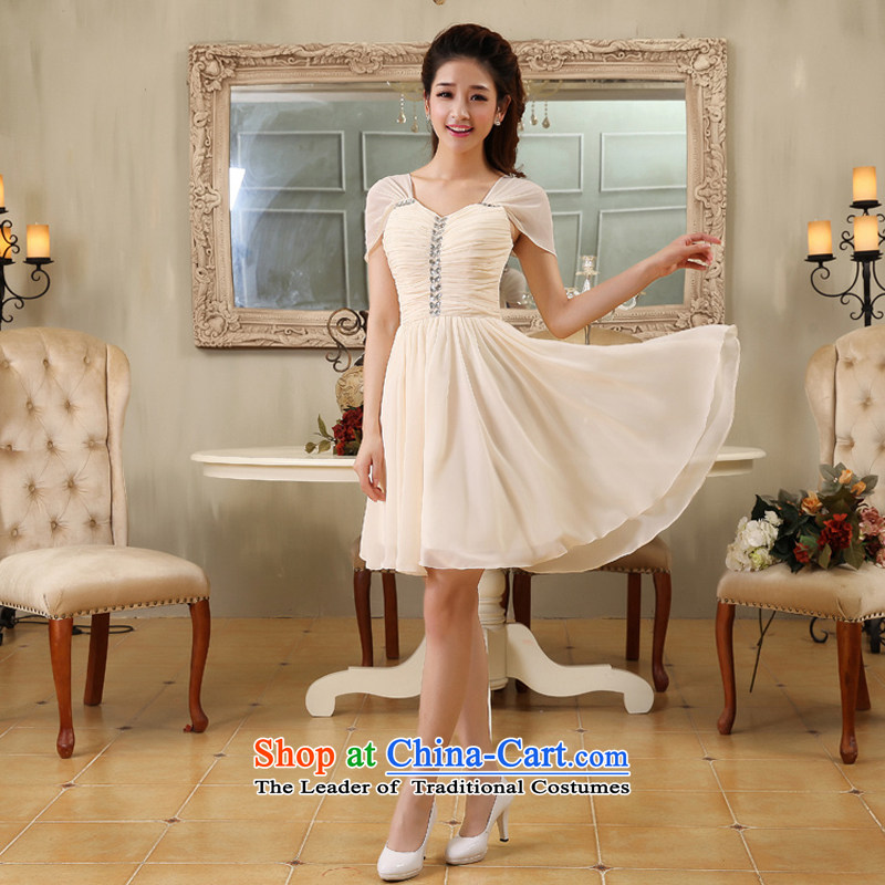 Optimize video new Korean style package champagne color, shoulder short dress bridal bridesmaid wedding dresses XS8058 champagne color�L