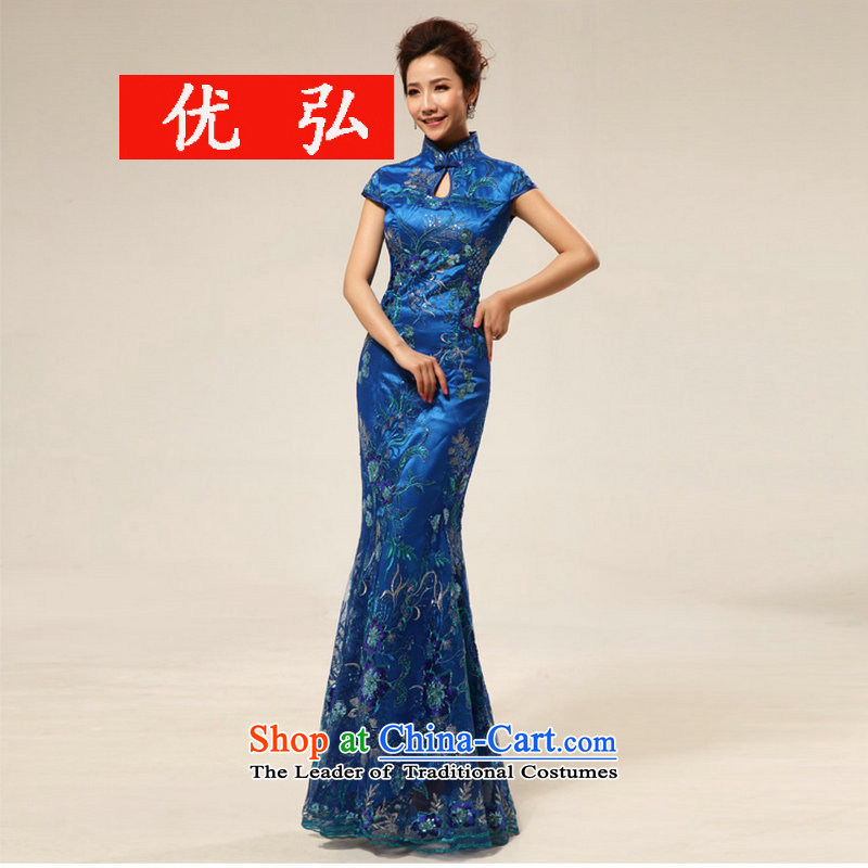 Optimize video etiquette new hospitality extended by 2015, bows to the bride qipao skirt XS8038 Load Blue?XL