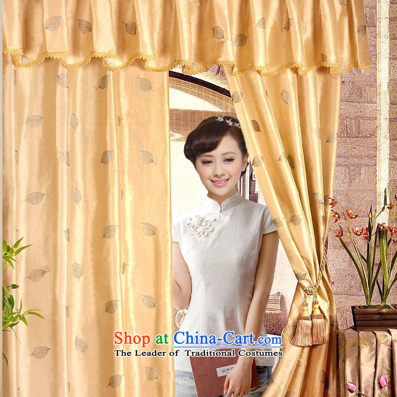 The former Yugoslavia Li aware spring 2014 new orchids in cotton shirt qipao Heung-China wind summer Tang dynasty ethnic QW1200 Milk White XL