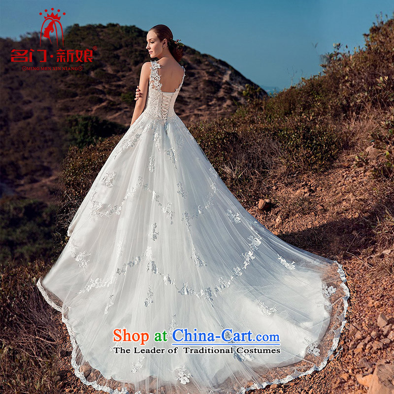 A bride wedding dresses 2015 new wedding palace elegant lace tail wedding shoulder strap wedding A511 S