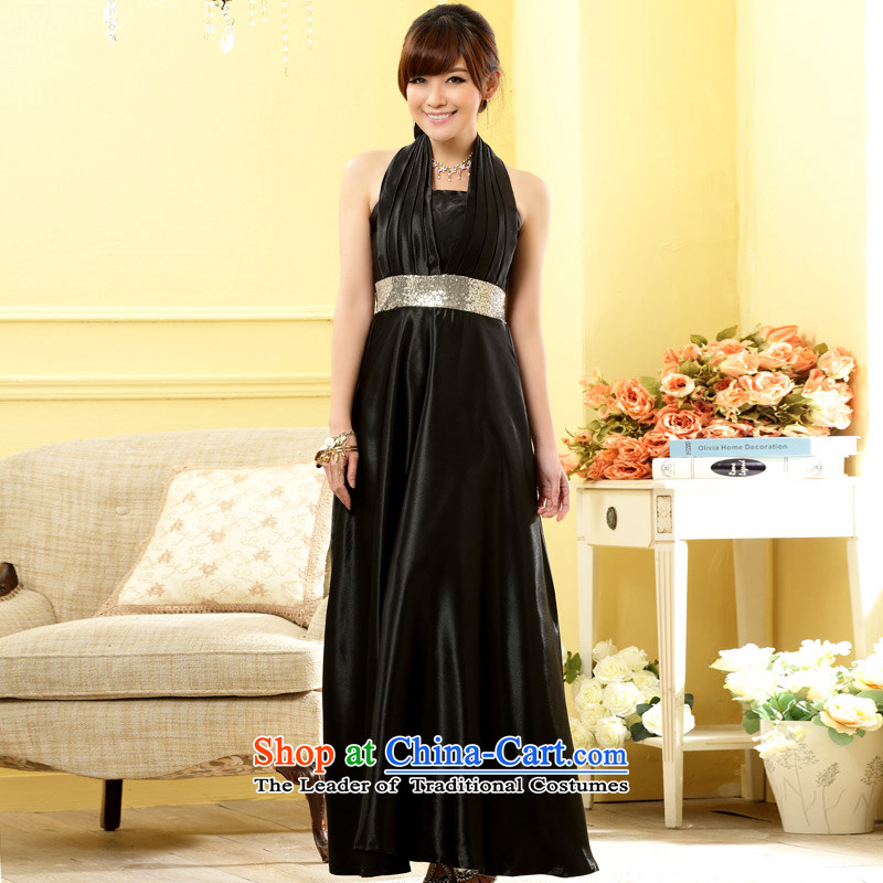 The end of the light (MO) Western Wind QIAN banquet noble a pearl thin waist gown dresses Black�XL