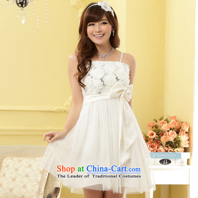 The end of the light (MO) Sweet, QIAN Than Sisters skirt Foutune of chest small dress skirt (feed) White with invisible�XL