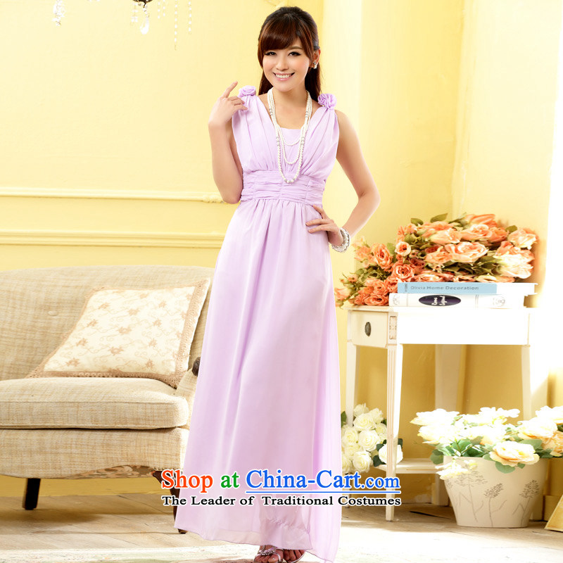 The end of the light _MO_ Heung-yeon QIAN sweet sister skirt foutune graphics high manually shoulder flower V-Neck gown dresses purple are code