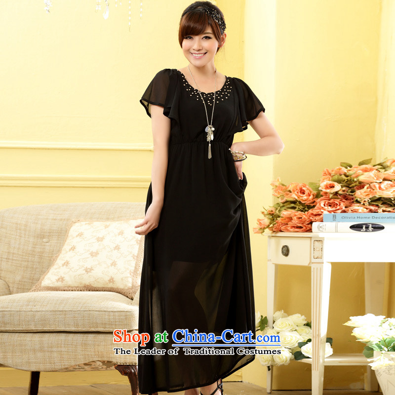 The end of the light (MO) QIAN Maya bright niba cuff round-neck collar nail pearl elastic waist length dress dresses black are code