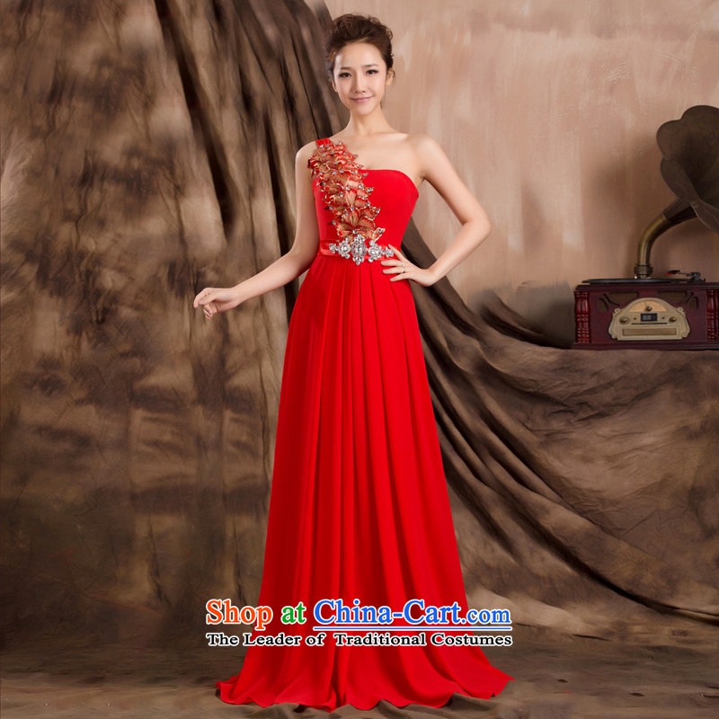 2014 New Shared Keun guijin shoulder stereo flowers dress to align graphics thin Princess Bride long skirt K680 presided over large red?L code from Suzhou Shipment