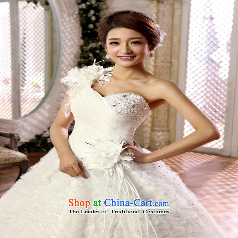 Optimize video new Korean shoulder bride flowers bon bon skirt to align the wedding dress XS8053 m White?XXL