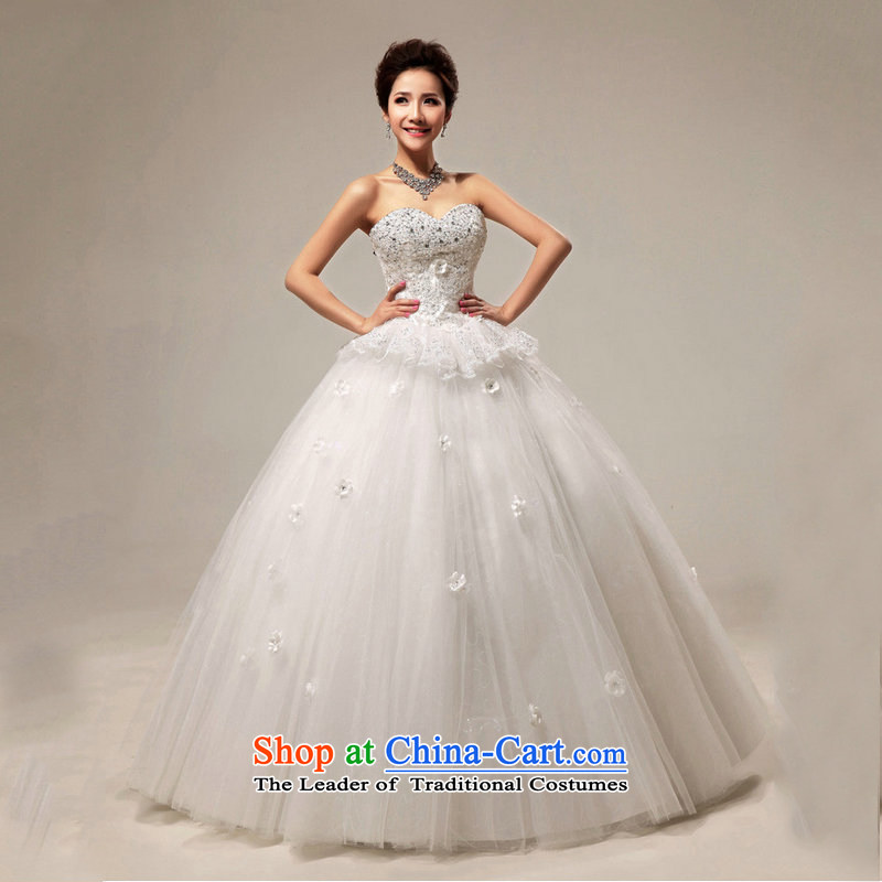 Optimize video new Korean Princess graphics to align drill flash thin bon bon bride wedding dresses XS8052 white L