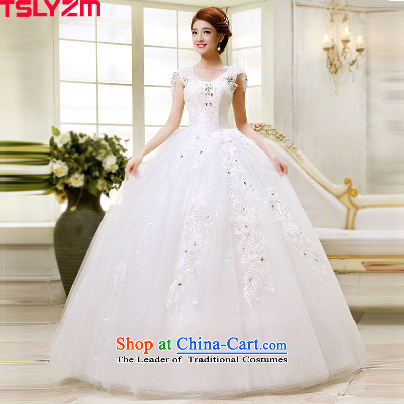 Tslyzm wedding dresses autumn 2015 Summer new marriages a field package shoulders lace V-neck to align the Korean style wedding dress white�S