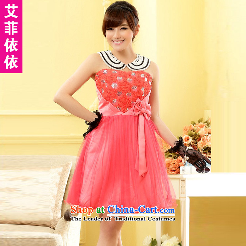 Of the glued to the Princess Mary Magdalene chest small rose?by 2015 under the auspices of Korean dress short of marriage banquet bride bridesmaid sister humorous wedding dress 4,962?XXXL Peach red code